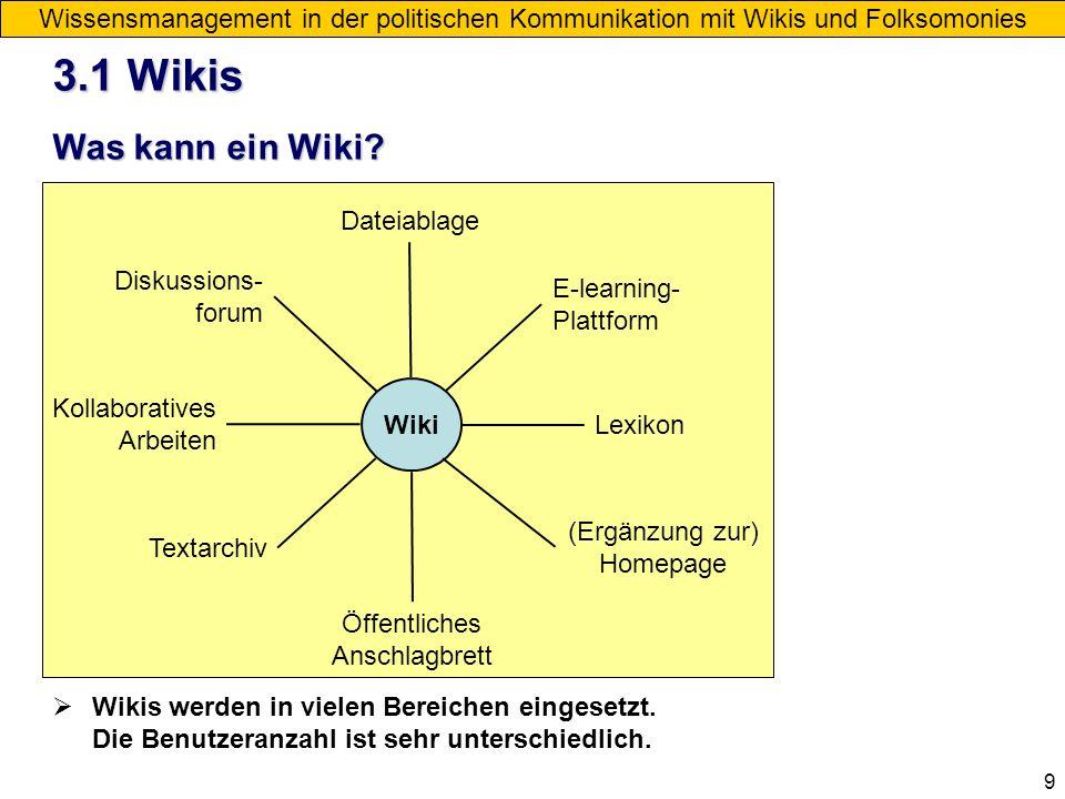 9 Wissensmanagement in der politischen Kommunikation mit Wikis und Folksomonies Was kann ein Wiki? Wiki Wikis werden in vielen Bereichen eingesetzt. D