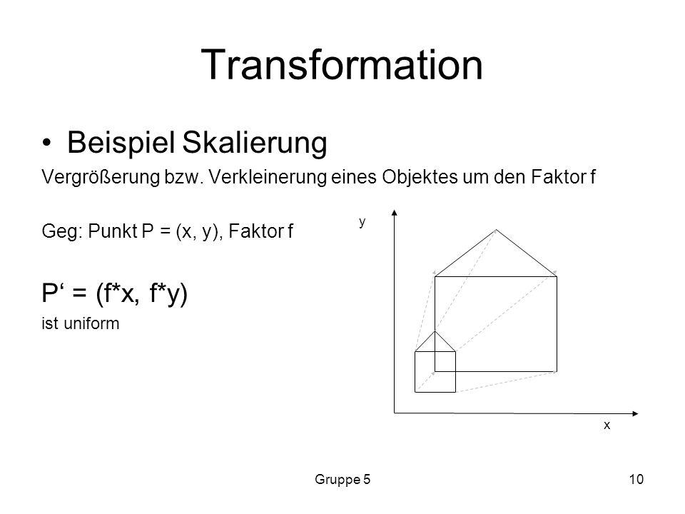 Gruppe 510 Transformation Beispiel Skalierung Vergrößerung bzw.