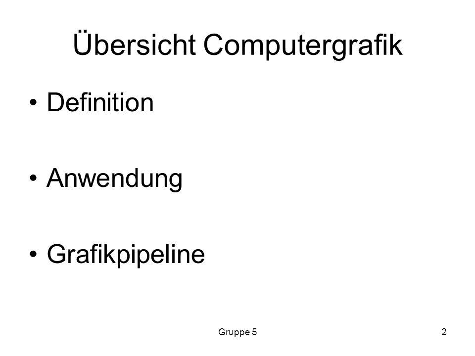 Gruppe 52 Übersicht Computergrafik Definition Anwendung Grafikpipeline
