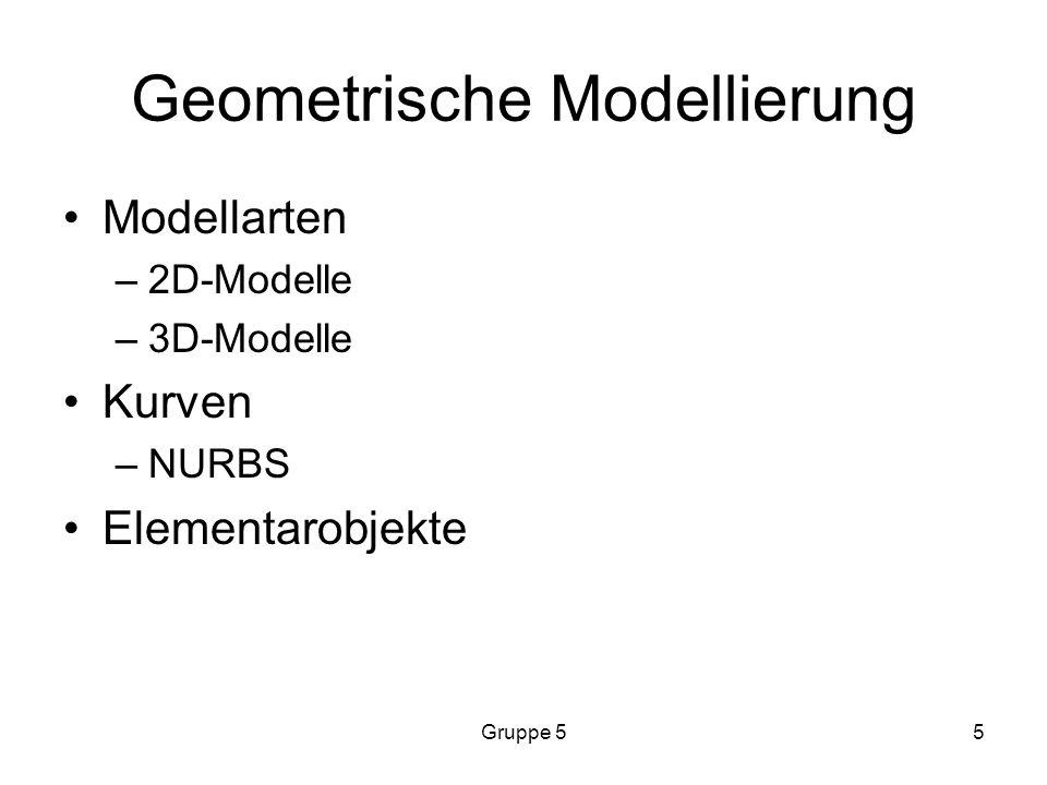 Gruppe 55 Geometrische Modellierung Modellarten –2D-Modelle –3D-Modelle Kurven –NURBS Elementarobjekte