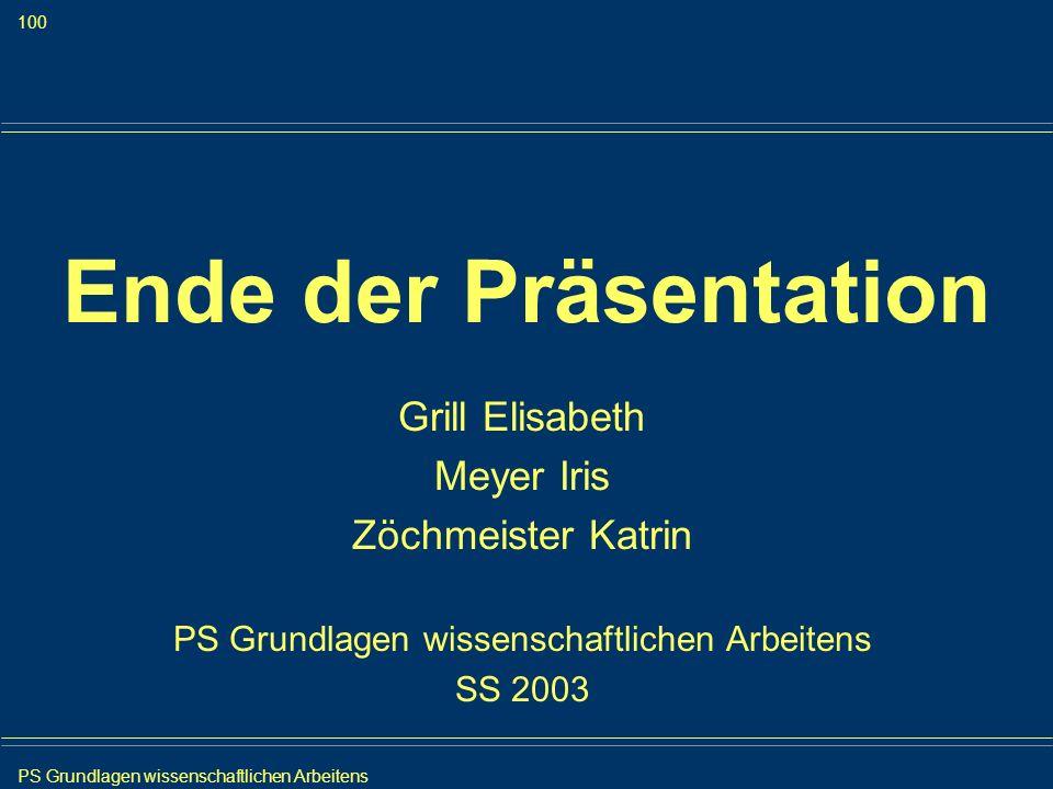 PS Grundlagen wissenschaftlichen Arbeitens 100 Iris Meyer Ende der Präsentation Grill Elisabeth Meyer Iris Zöchmeister Katrin PS Grundlagen wissenscha