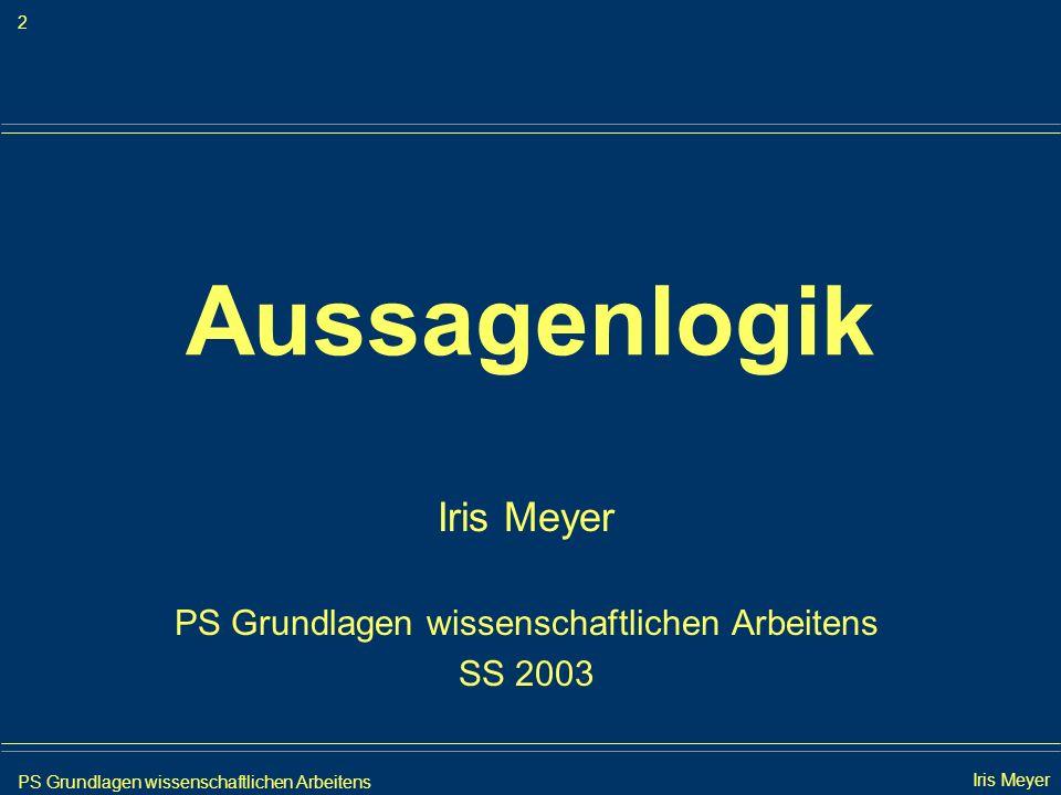 PS Grundlagen wissenschaftlichen Arbeitens 23 Iris Meyer Aussagenlogik 2.Anwendung der Resolventenregel {{p, q, r}, {p, q, r}, { p, q, r}, { p, q, r}, { p, q, r}, { r}} {p, q, r} {q, r} {p, q, r} {p, r}