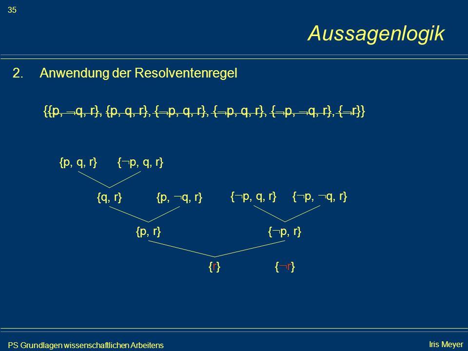 PS Grundlagen wissenschaftlichen Arbeitens 35 Iris Meyer Aussagenlogik 2.Anwendung der Resolventenregel {{p, q, r}, {p, q, r}, { p, q, r}, { p, q, r},