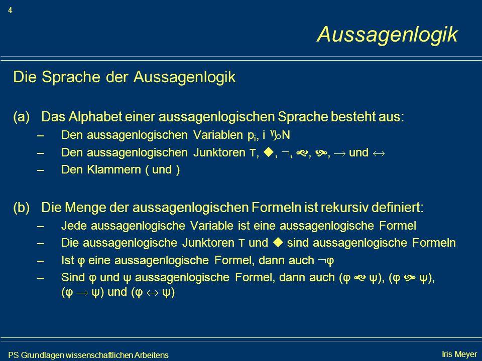 PS Grundlagen wissenschaftlichen Arbeitens 5 Iris Meyer Aussagenlogik Das Argument Gültigkeit eines Arguments: (a) Semantisch gültig |= (b) Syntaktisch gültig |– (1) Alle Menschen sind sterblich.