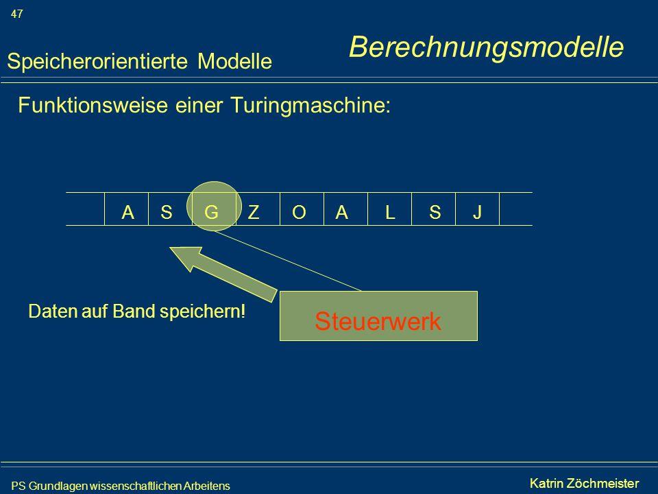PS Grundlagen wissenschaftlichen Arbeitens 47 Iris Meyer Funktionsweise einer Turingmaschine: Speicherorientierte Modelle AAGSSZOLJ Steuerwerk Daten a