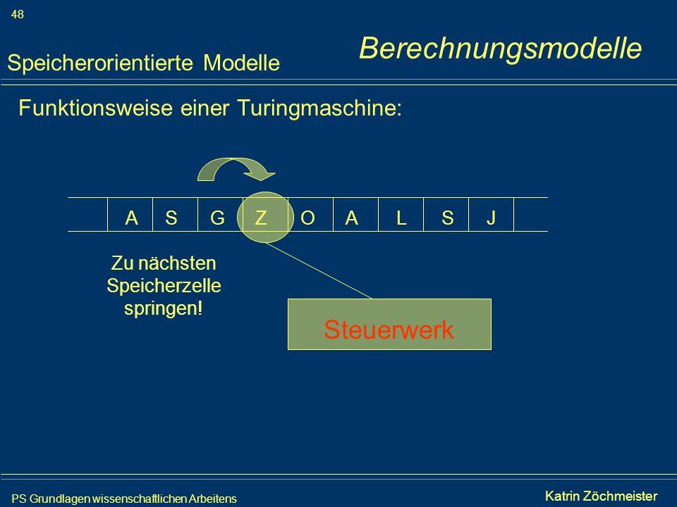 PS Grundlagen wissenschaftlichen Arbeitens 48 Iris Meyer Funktionsweise einer Turingmaschine: Speicherorientierte Modelle AAGSSZOLJ Steuerwerk Zu näch