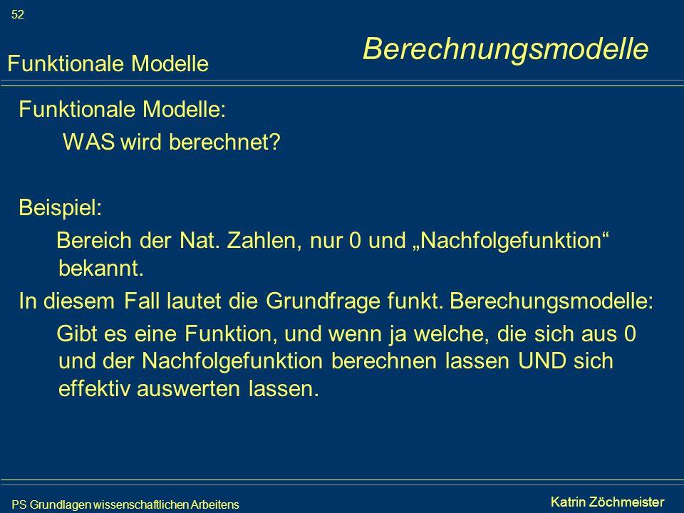 PS Grundlagen wissenschaftlichen Arbeitens 52 Iris Meyer Funktionale Modelle: WAS wird berechnet? Beispiel: Bereich der Nat. Zahlen, nur 0 und Nachfol
