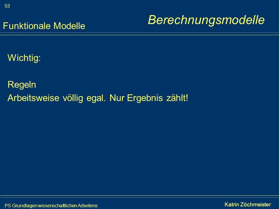 PS Grundlagen wissenschaftlichen Arbeitens 53 Iris Meyer Wichtig: Regeln Arbeitsweise völlig egal. Nur Ergebnis zählt! Funktionale Modelle Berechnungs