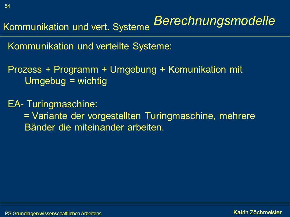 PS Grundlagen wissenschaftlichen Arbeitens 54 Iris Meyer Kommunikation und verteilte Systeme: Prozess + Programm + Umgebung + Komunikation mit Umgebug
