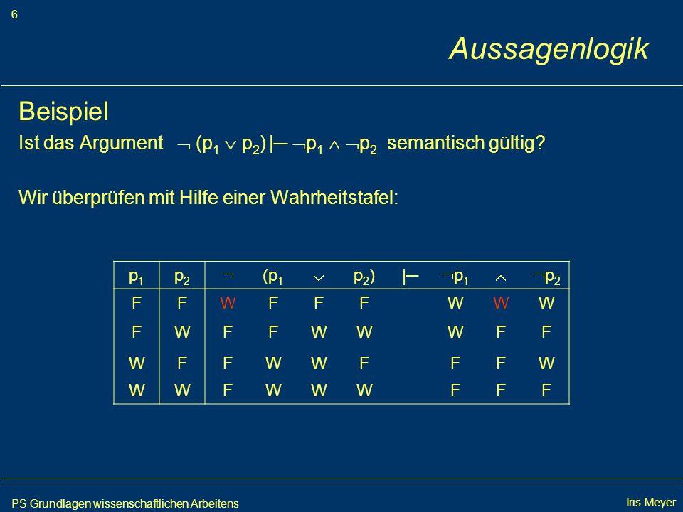 PS Grundlagen wissenschaftlichen Arbeitens 6 Iris Meyer Aussagenlogik Beispiel Ist das Argument (p 1 p 2 ) | p 1 p 2 semantisch gültig? Wir überprüfen