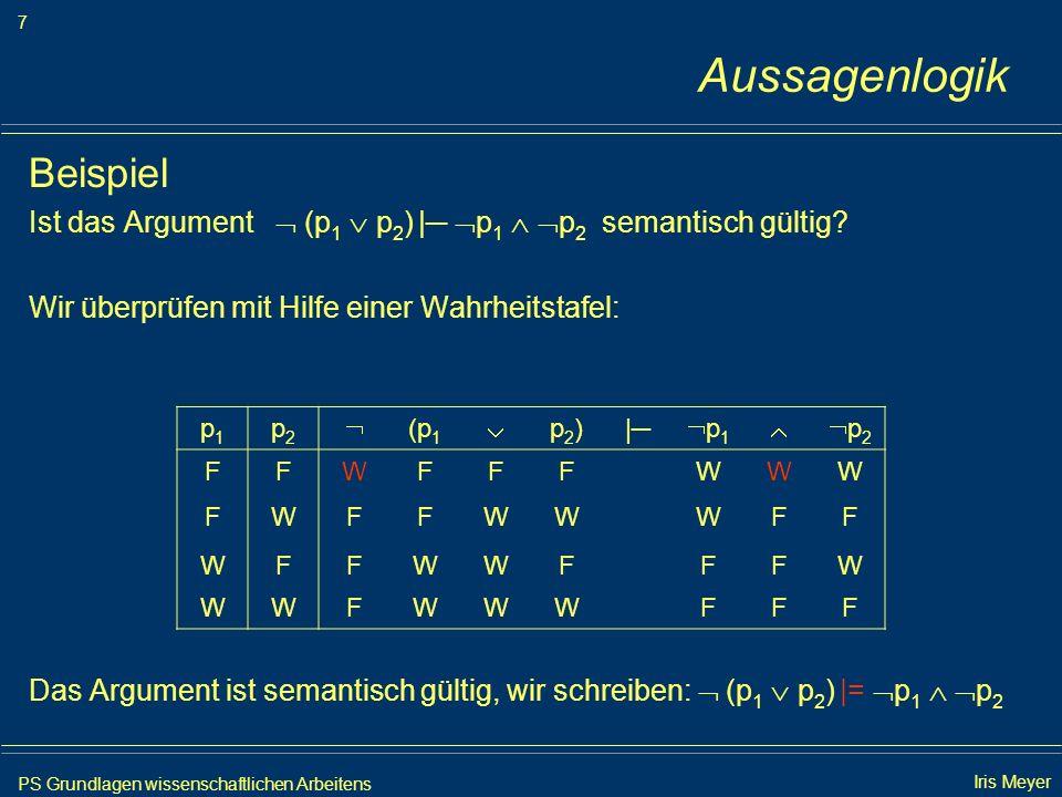PS Grundlagen wissenschaftlichen Arbeitens 8 Iris Meyer Aussagenlogik Das Resolutionsverfahren...ist eine Methode zum automatischen Beweisen Grundidee: Das Argument φ 1,..., φ n |= φ ist genau dann richtig, wenn die Formelmenge {φ 1,..., φ n, φ} unerfüllbar ist.