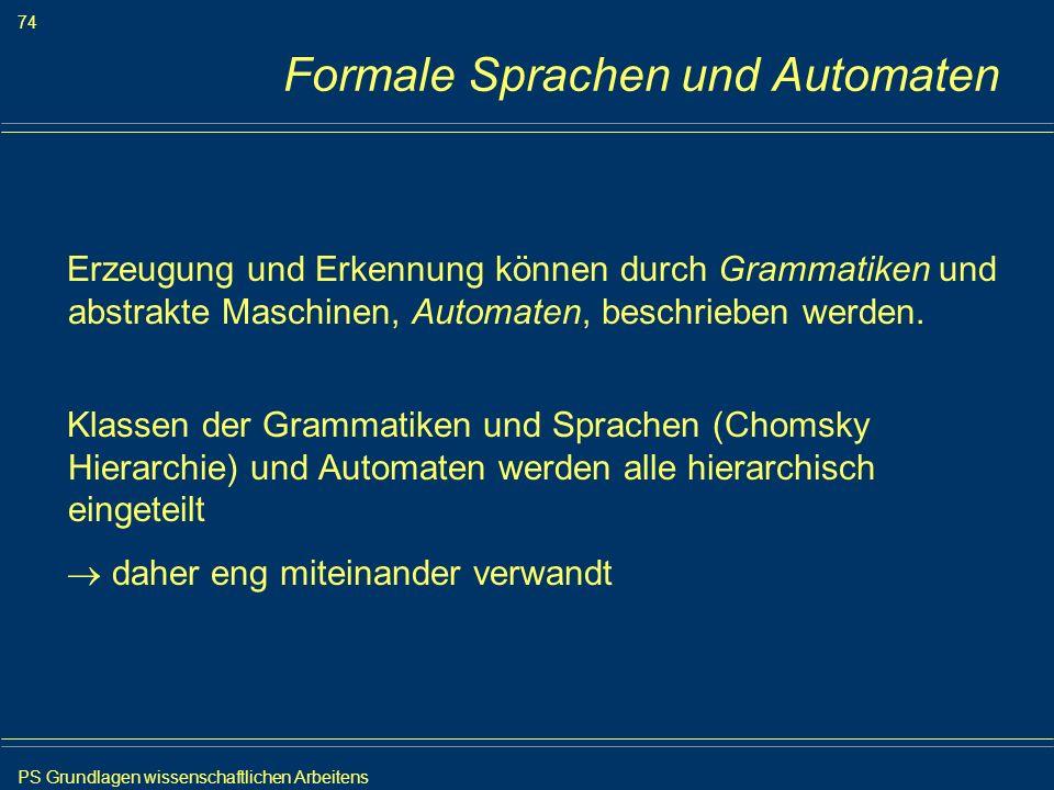 PS Grundlagen wissenschaftlichen Arbeitens 74 Iris Meyer Formale Sprachen und Automaten Erzeugung und Erkennung können durch Grammatiken und abstrakte