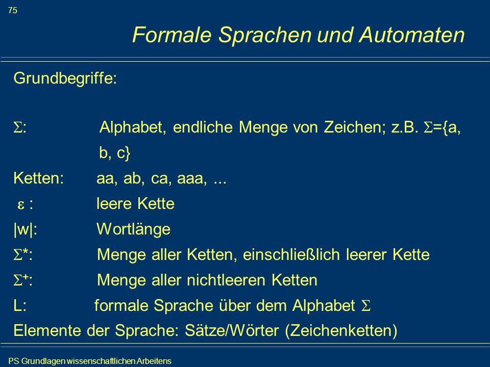 PS Grundlagen wissenschaftlichen Arbeitens 75 Iris Meyer Formale Sprachen und Automaten Grundbegriffe: : Alphabet, endliche Menge von Zeichen; z.B. ={