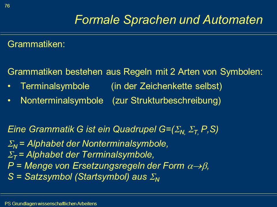 PS Grundlagen wissenschaftlichen Arbeitens 76 Iris Meyer Formale Sprachen und Automaten Grammatiken: Grammatiken bestehen aus Regeln mit 2 Arten von S