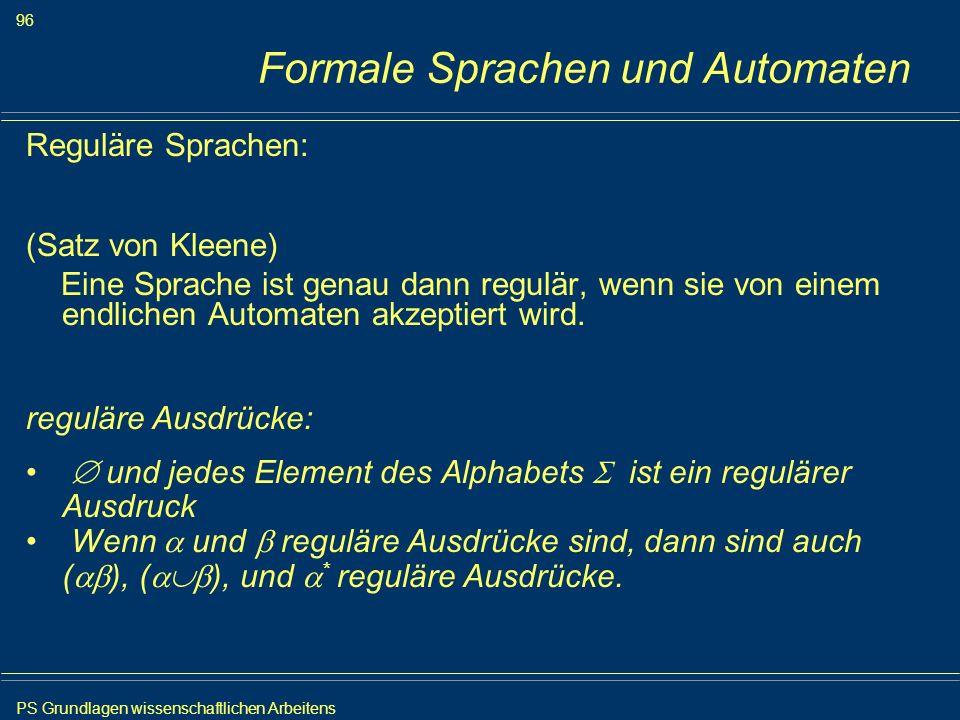 PS Grundlagen wissenschaftlichen Arbeitens 96 Iris Meyer Formale Sprachen und Automaten Reguläre Sprachen: (Satz von Kleene) Eine Sprache ist genau da