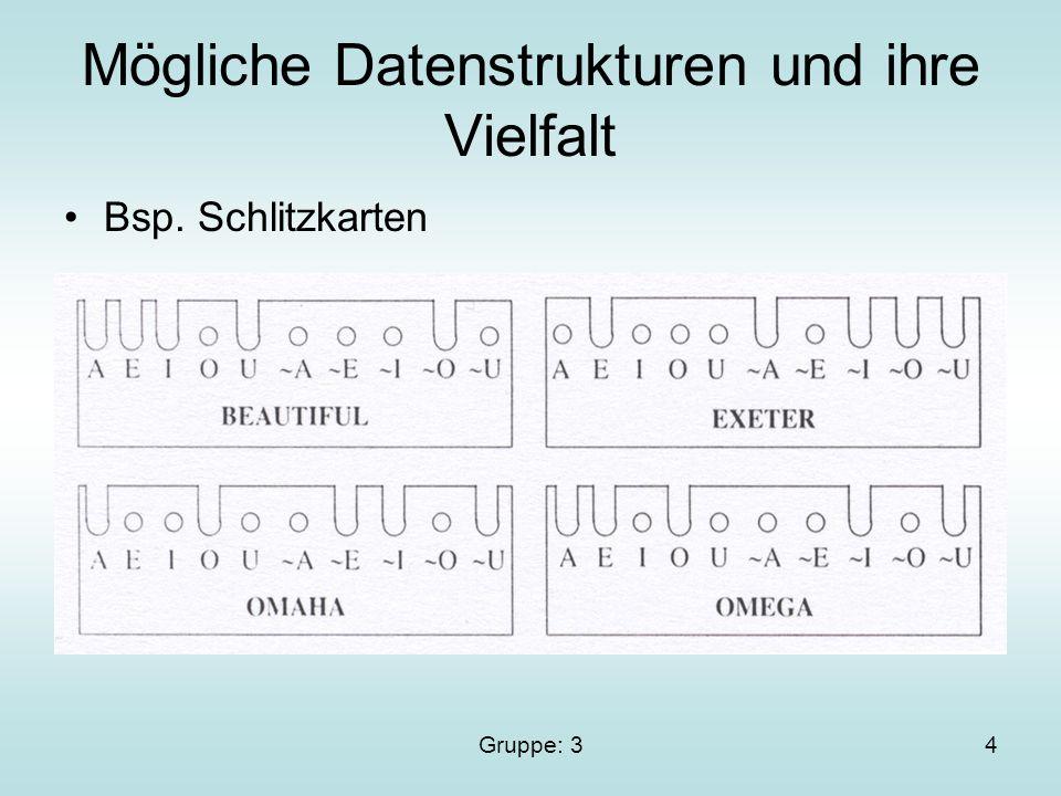 Gruppe: 34 Mögliche Datenstrukturen und ihre Vielfalt Bsp. Schlitzkarten