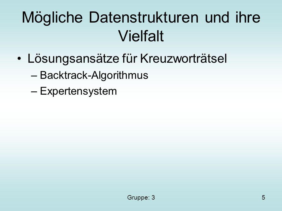 Gruppe: 35 Mögliche Datenstrukturen und ihre Vielfalt Lösungsansätze für Kreuzworträtsel –Backtrack-Algorithmus –Expertensystem