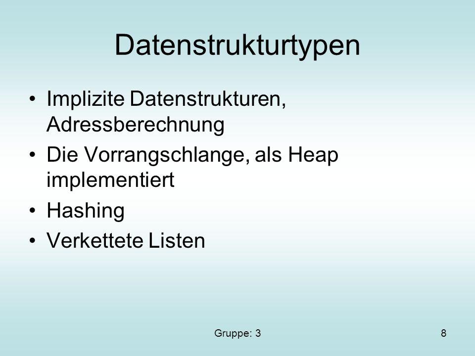 Gruppe: 38 Datenstrukturtypen Implizite Datenstrukturen, Adressberechnung Die Vorrangschlange, als Heap implementiert Hashing Verkettete Listen