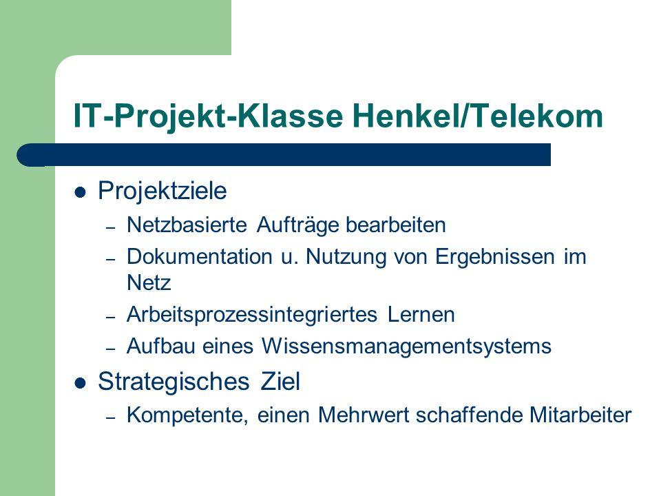 IT-Projekt-Klasse Henkel/Telekom Projektziele – Netzbasierte Aufträge bearbeiten – Dokumentation u. Nutzung von Ergebnissen im Netz – Arbeitsprozessin