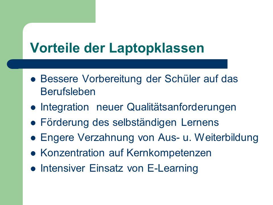 Vorteile der Laptopklassen Bessere Vorbereitung der Schüler auf das Berufsleben Integration neuer Qualitätsanforderungen Förderung des selbständigen L