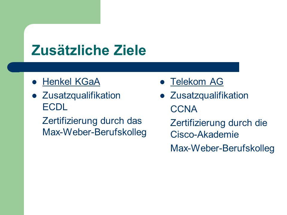Zusätzliche Ziele Henkel KGaA Zusatzqualifikation ECDL Zertifizierung durch das Max-Weber-Berufskolleg Telekom AG Zusatzqualifikation CCNA Zertifizierung durch die Cisco-Akademie Max-Weber-Berufskolleg