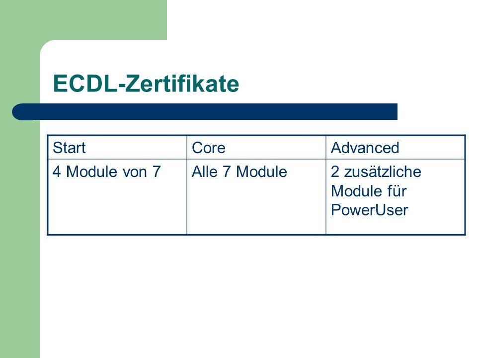 ECDL-Zertifikate StartCoreAdvanced 4 Module von 7Alle 7 Module2 zusätzliche Module für PowerUser