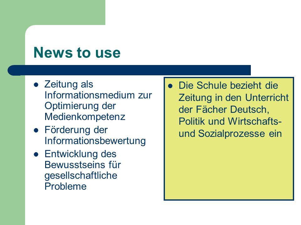 News to use Zeitung als Informationsmedium zur Optimierung der Medienkompetenz Förderung der Informationsbewertung Entwicklung des Bewusstseins für ge