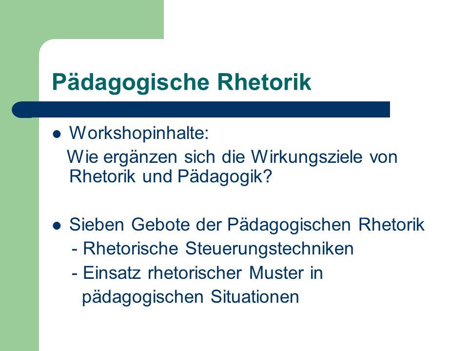 Pädagogische Rhetorik Workshopinhalte: Wie ergänzen sich die Wirkungsziele von Rhetorik und Pädagogik? Sieben Gebote der Pädagogischen Rhetorik - Rhet