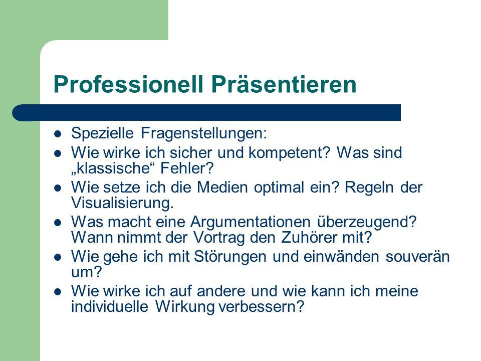 Professionell Präsentieren Spezielle Fragenstellungen: Wie wirke ich sicher und kompetent.