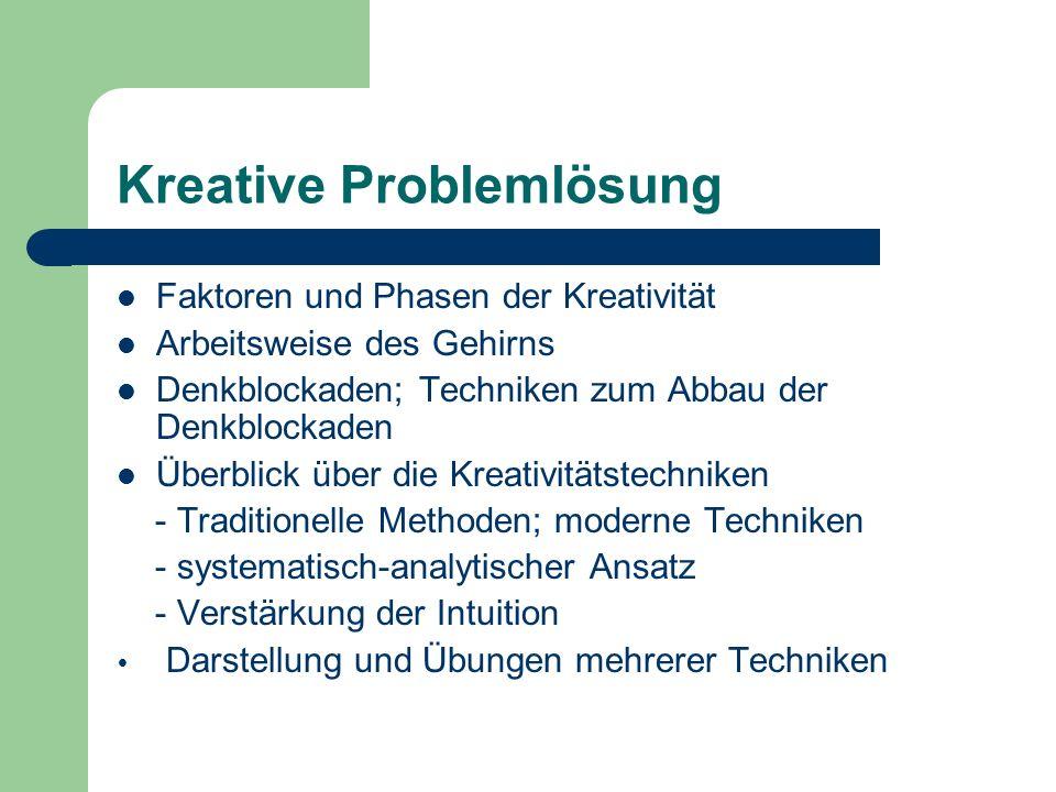 Kreative Problemlösung Faktoren und Phasen der Kreativität Arbeitsweise des Gehirns Denkblockaden; Techniken zum Abbau der Denkblockaden Überblick über die Kreativitätstechniken - Traditionelle Methoden; moderne Techniken - systematisch-analytischer Ansatz - Verstärkung der Intuition Darstellung und Übungen mehrerer Techniken