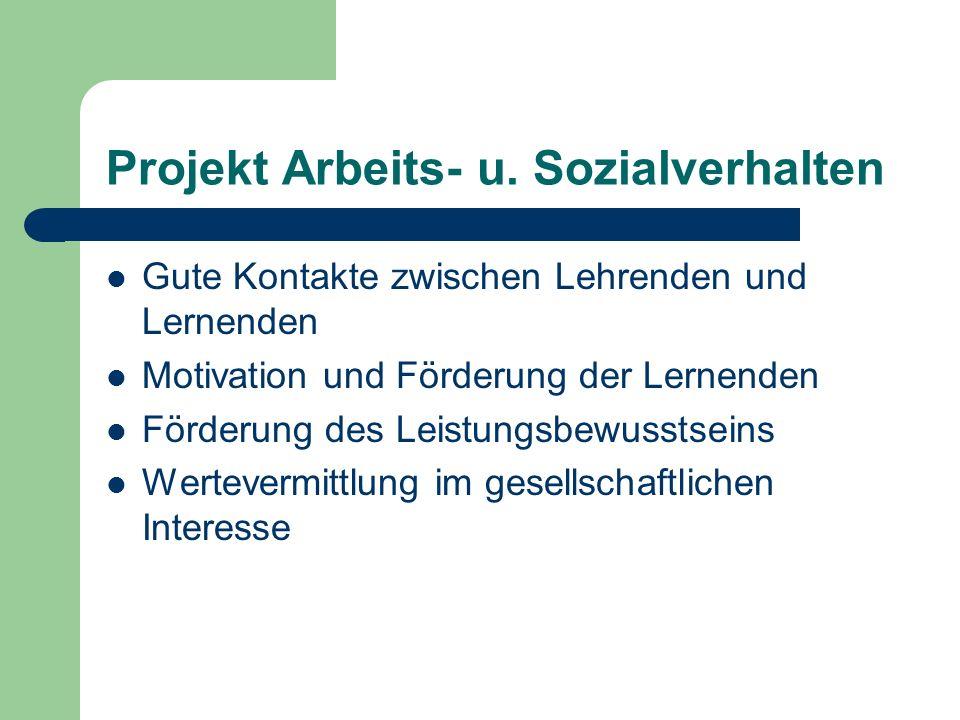 Projekt Arbeits- u. Sozialverhalten Gute Kontakte zwischen Lehrenden und Lernenden Motivation und Förderung der Lernenden Förderung des Leistungsbewus