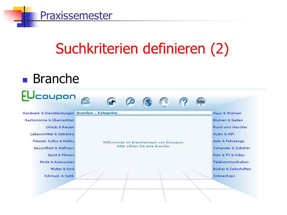 Praxissemester Suchkriterien definieren (2) Branche