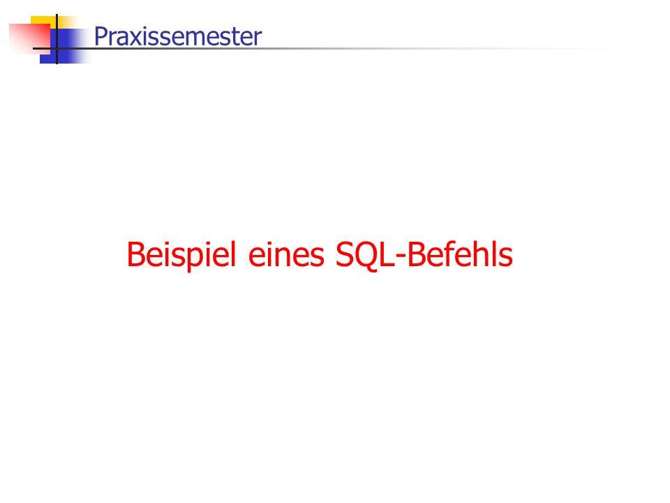 Praxissemester Beispiel eines SQL-Befehls