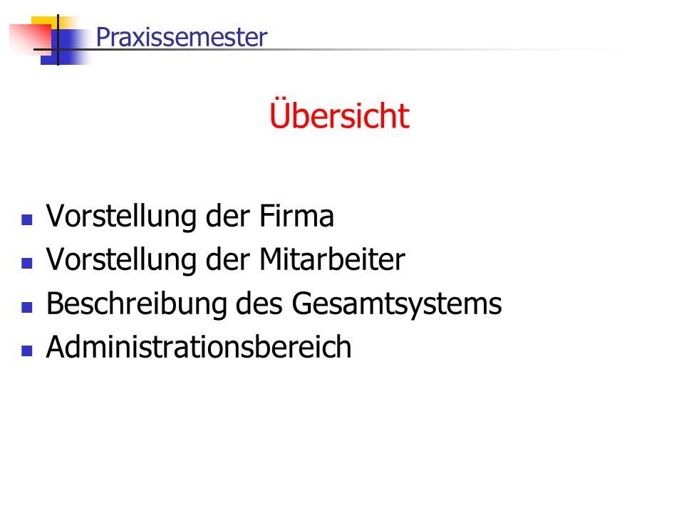 Praxissemester Übersicht Vorstellung der Firma Vorstellung der Mitarbeiter Beschreibung des Gesamtsystems Administrationsbereich