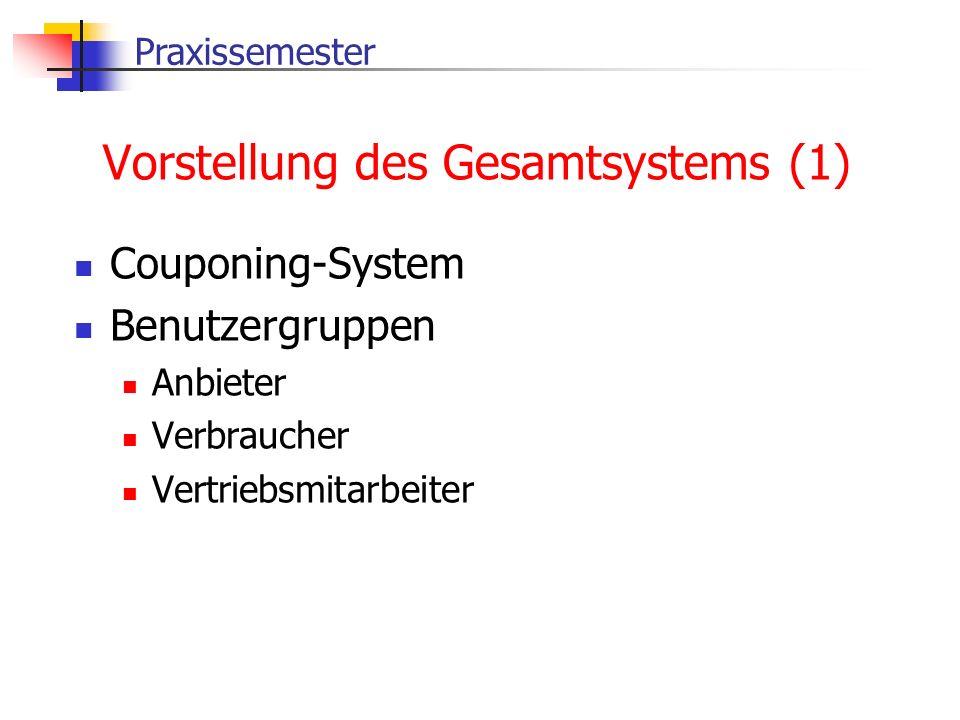 Praxissemester Vorstellung des Gesamtsystems (1) Couponing-System Benutzergruppen Anbieter Verbraucher Vertriebsmitarbeiter