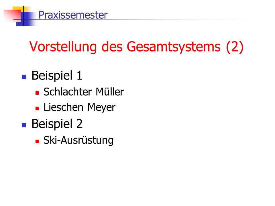 Praxissemester Vorstellung des Gesamtsystems (2) Beispiel 1 Schlachter Müller Lieschen Meyer Beispiel 2 Ski-Ausrüstung