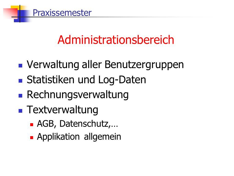 Praxissemester Administrationsbereich Verwaltung aller Benutzergruppen Statistiken und Log-Daten Rechnungsverwaltung Textverwaltung AGB, Datenschutz,…