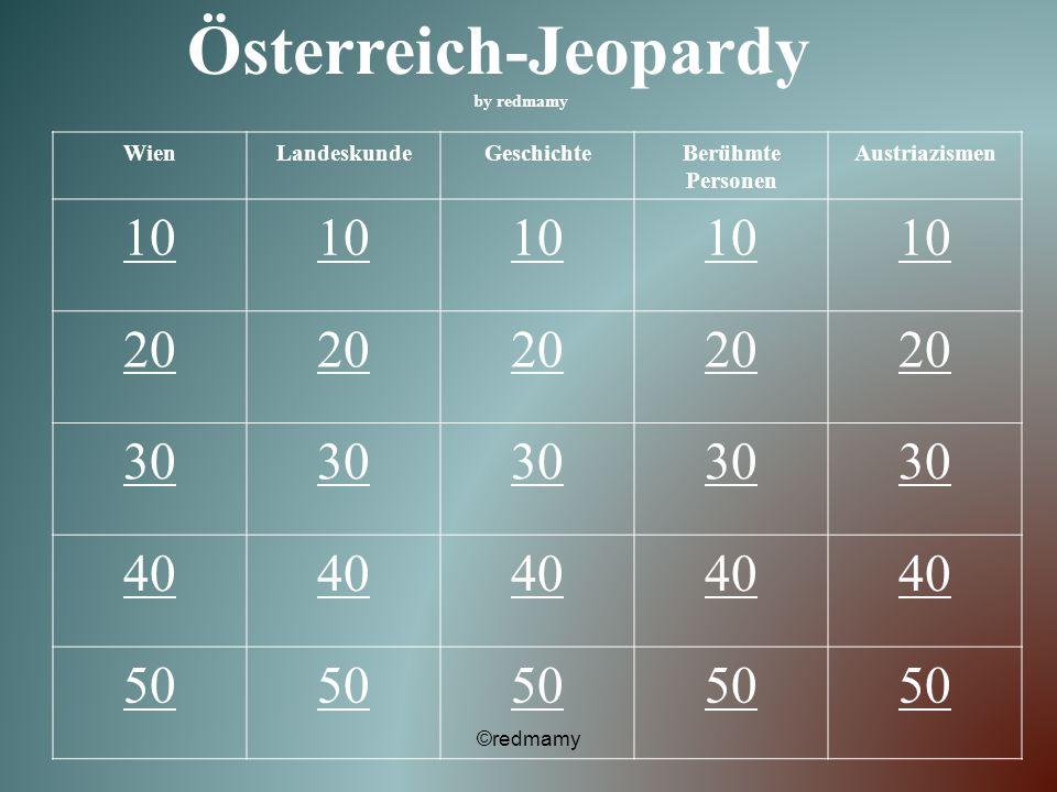 Österreich-Jeopardy by redmamy WienLandeskundeGeschichteBerühmte Personen Austriazismen 10 20 30 40 50 ©redmamy