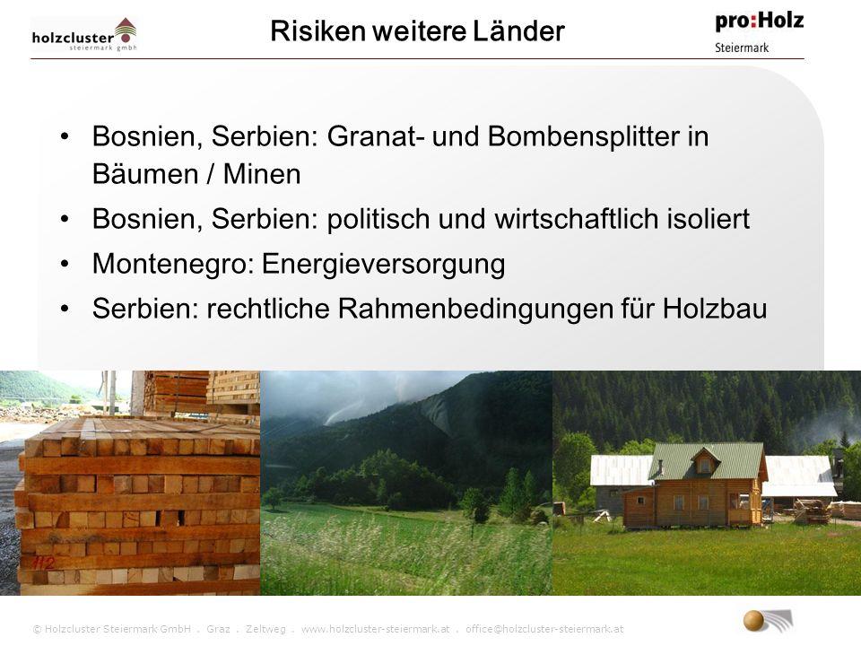 © Holzcluster Steiermark GmbH. Graz. Zeltweg. www.holzcluster-steiermark.at. office@holzcluster-steiermark.at Bosnien, Serbien: Granat- und Bombenspli