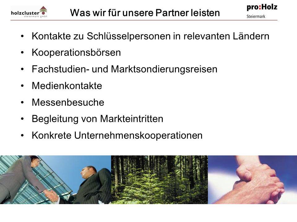 © Holzcluster Steiermark GmbH. Graz. Zeltweg. www.holzcluster-steiermark.at. office@holzcluster-steiermark.at Was wir für unsere Partner leisten Konta