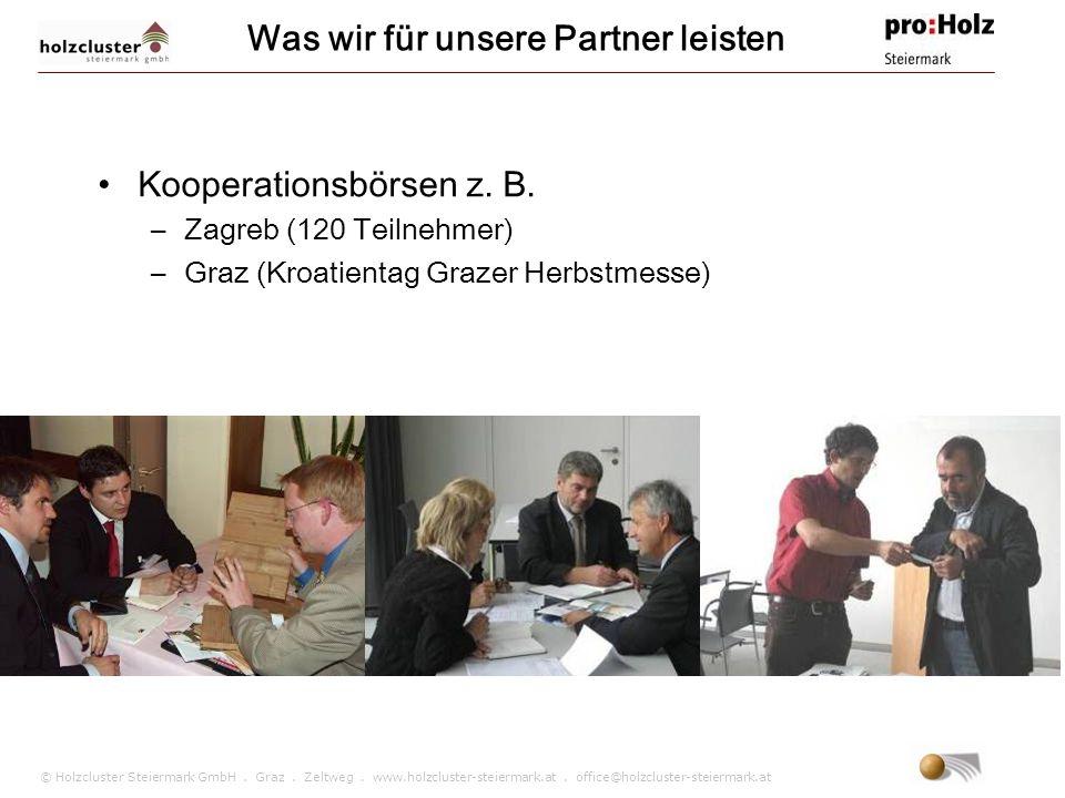 © Holzcluster Steiermark GmbH. Graz. Zeltweg. www.holzcluster-steiermark.at. office@holzcluster-steiermark.at Was wir für unsere Partner leisten Koope