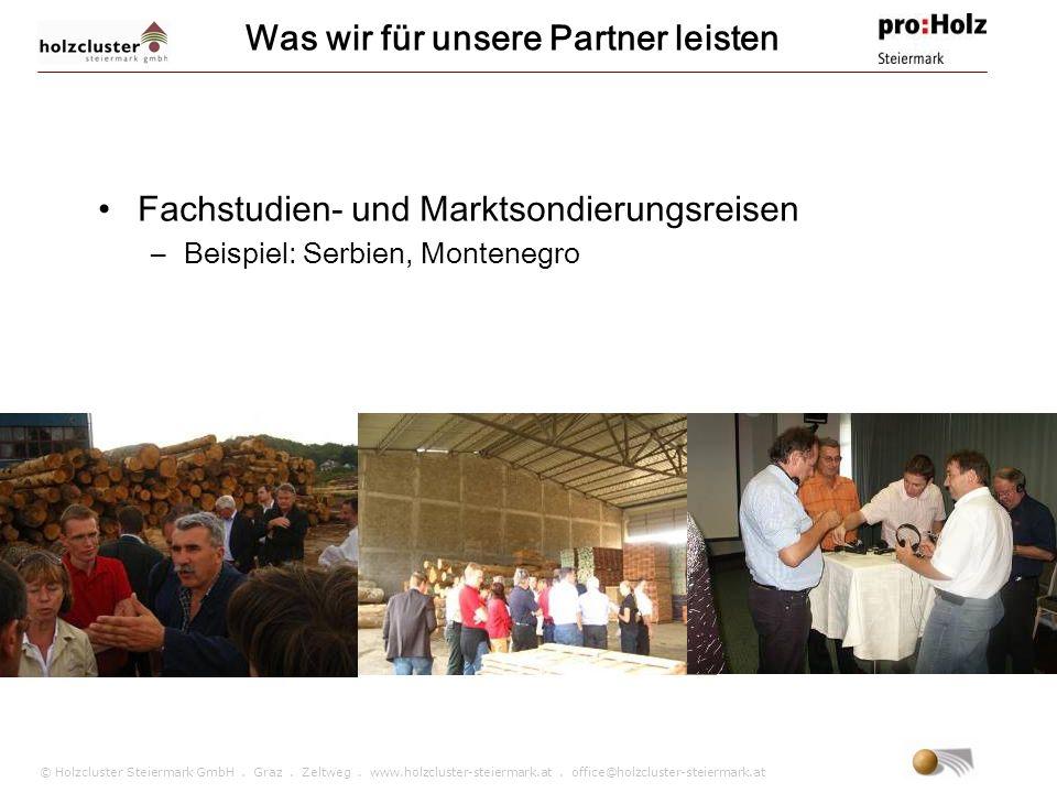 © Holzcluster Steiermark GmbH. Graz. Zeltweg. www.holzcluster-steiermark.at. office@holzcluster-steiermark.at Was wir für unsere Partner leisten Fachs