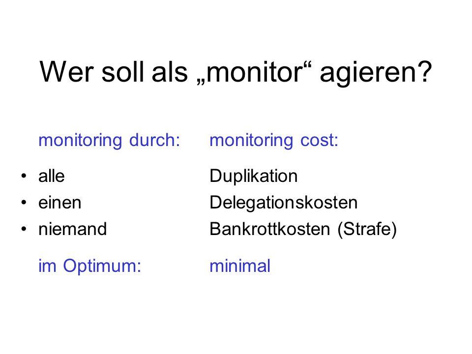 Wer soll als monitor agieren? monitoring durch:monitoring cost: alleDuplikation einenDelegationskosten niemandBankrottkosten (Strafe) im Optimum:minim