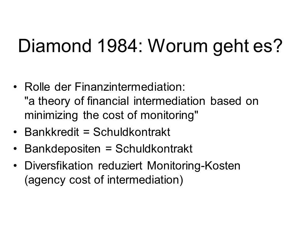 Diamond 1984: Worum geht es? Rolle der Finanzintermediation: