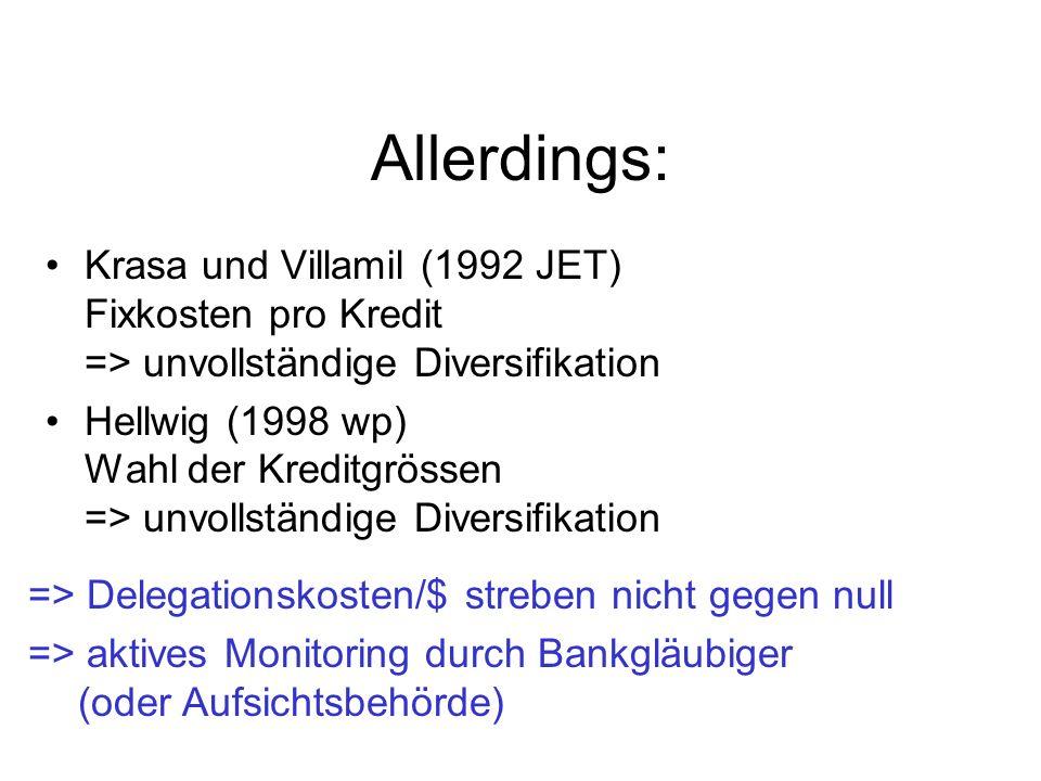 Allerdings: Krasa und Villamil (1992 JET) Fixkosten pro Kredit => unvollständige Diversifikation Hellwig (1998 wp) Wahl der Kreditgrössen => unvollstä