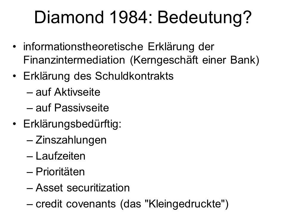 Diamond 1984: Bedeutung? informationstheoretische Erklärung der Finanzintermediation (Kerngeschäft einer Bank) Erklärung des Schuldkontrakts –auf Akti