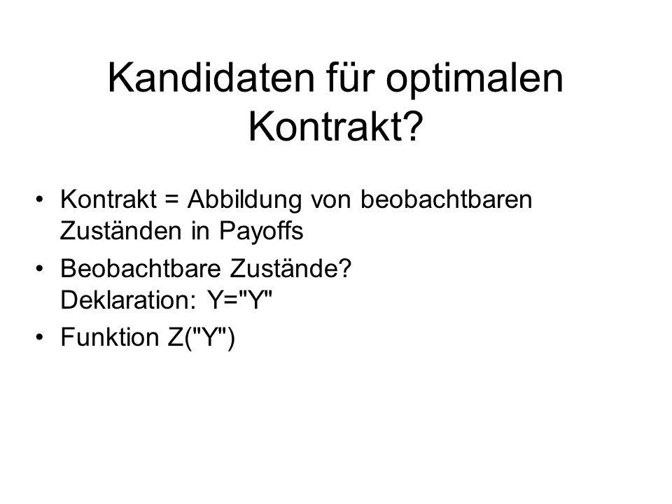 Nominalwert D Rückzahlung Z (Geld): –Y>=D:Z=D (unabhängig von Y) –Y<D:Z=Y (plus Strafe für Schuldner) Risikotragung: –Y>=D:Schuldner (= Aktionär ) –Y<D:Gläubiger (= Aktionär bei Insolvenz) Schuldner: Strafkosten –nicht-optimal im Sinne first best Kredithöhe (K) beschränkt durch: –Gläubiger verlangt E(Z)>=R (participation constraint) –Strafkosten für Schuldner steigen mit K überproportional Schuldkontrakt: Charakteristika