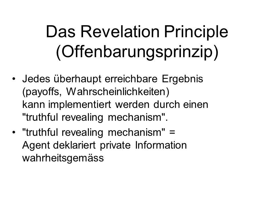Das Revelation Principle (Offenbarungsprinzip) Jedes überhaupt erreichbare Ergebnis (payoffs, Wahrscheinlichkeiten) kann implementiert werden durch ei