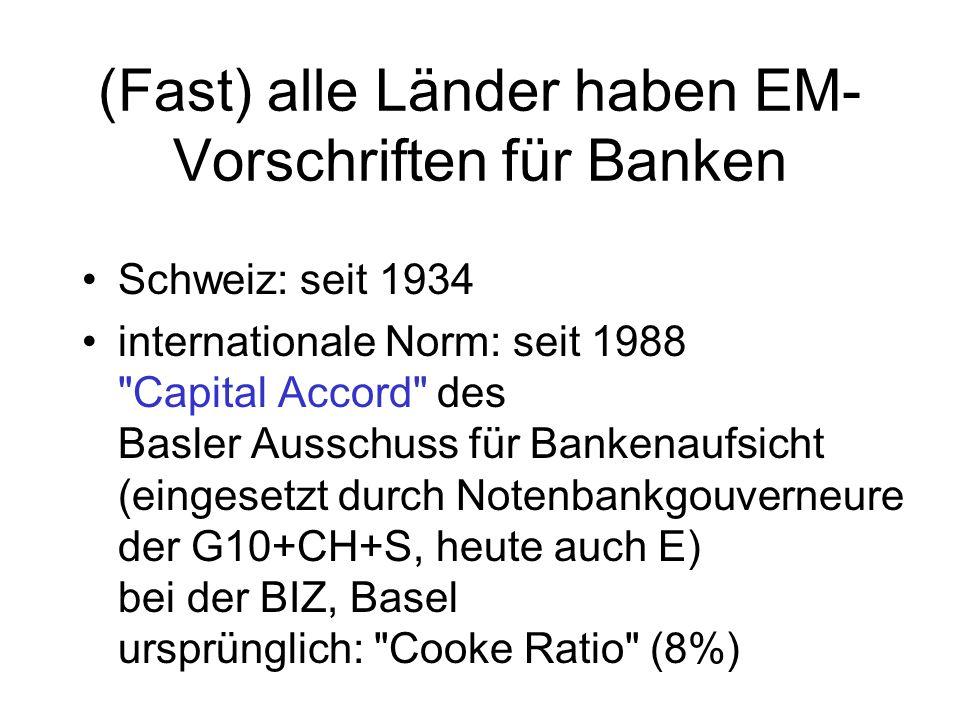 (Fast) alle Länder haben EM- Vorschriften für Banken Schweiz: seit 1934 internationale Norm: seit 1988 Capital Accord des Basler Ausschuss für Bankenaufsicht (eingesetzt durch Notenbankgouverneure der G10+CH+S, heute auch E) bei der BIZ, Basel ursprünglich: Cooke Ratio (8%)