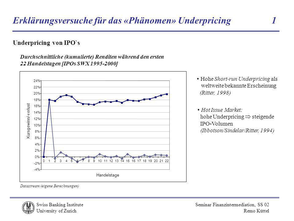 Swiss Banking Institute University of Zurich Seminar Finanzintermediation, SS 02 Remo Küttel Erklärungsversuche für das «Phänomen» Underpricing 1 Underpricing von IPO`s Durchschnittliche (kumulierte) Renditen während den ersten 22 Handelstagen [IPOs SWX 1995-2000] -4% -2% 0% 2% 4% 6% 8% 10% 12% 14% 16% 18% 20% 22% 24% 012345678910111213141516171819202122 Handelstage Kursgewinn/-verlust Datastream (eigene Berechnungen) Hohe Short-run Underpricing als weltweite bekannte Erscheinung (Ritter, 1998) Hot Issue Market: hohe Underpricing steigende IPO-Volumen (Ibbotson/Sindelar/Ritter, 1994)